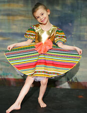 Dance Wear-Stage shows-Girls- PEASANT/GYPSY STRIPE DRESS with gold Lycra bodice