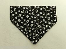 DOG CAT FERRET REVERSIBLE Over Collar Bandana~Rock Roll Goth Gothic Black Skull