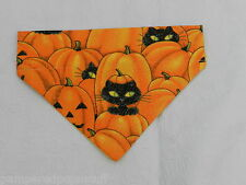 DOG/CAT/FERRET Over Collar REVERSIBLE Bandana~Black WItch Cat Pumpkin Halloween