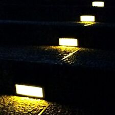 6 LED Solar Powered White Lights Pathway Path Step Stair Wall Garden Yard Lamps