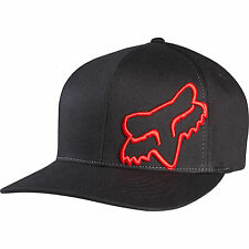 NEW FOX FLEX 45 FLEXFIT HAT FLEX FIT BLACK RED CAP HAT LID MENS ADULT GUYS