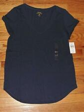 NEW NWT Polo Ralph Lauren Womens PONY LOGO V-Neck T-Shirt Curved Hem Blue *N4