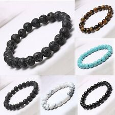 8mm Men's Charm Natural Lava Stone Buddha Lucky Charms Bracelet Bead Gift