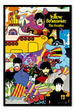 Framed The Beatles Band Group Yellow Submarine Poster New