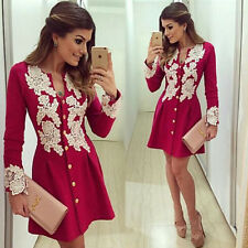 Summer Womens Casual Loose Long Sleeve Chest lace Shirt Blouse Tops Dress