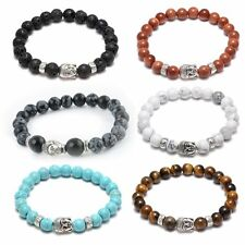 Elastic Natural 8mm Stone Lava bead Tibet Silver Buddha Lucky Man Charm Bracelet