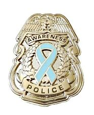 Light Blue Ribbon Pin Police Badge Awareness Security Sheriff Nickel Plated New
