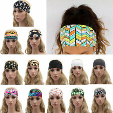 Sports Yoga Women Stretch Wide Turban Headband Hairband Elastic Hair Band Boho