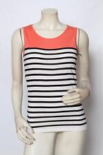 RONDINA Etcetera Black White Coral Striped Tank Top Sz S M L XL * NWT $185