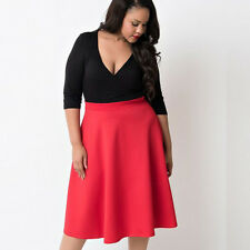 Plus Size Womens Swing Dress Pinup V-neck Cocktail Party Summer Skirt Dresses