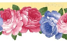 Blue Pink Roses Rose Flowers Scalloped Die Cut Out Edge Wall Wallpaper Border