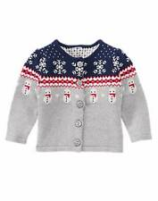 NWT Gymboree Girls Holiday Shop Fair Isle Snowman Cardigan Sweater Size 6-12-18