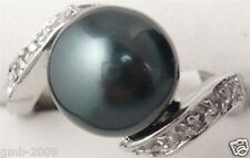 Fashion Women's 8mm Black South Sea Shell Pearl Gemstone 18KGP Ring Size 7/8/9
