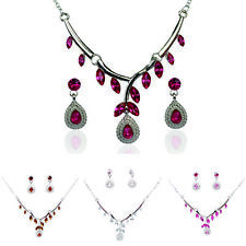 In 4 Color Women 18k GoldPlated Crystal Drop Shape Earring Necklace Jewelry Sets