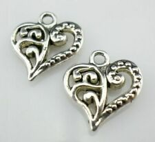 40/300pcs Tibetan Silver DIY Crafts Heart Charms Pendants 13x14mm
