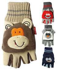 Children's Fingerless Gloves with Cap Monster & Animal Boys Girls Winter Warm