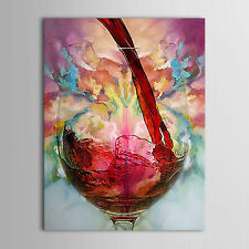 Still Life hand-painted Oil Canvas Painting Red Wine Glass Cup Bottle Wall Decor