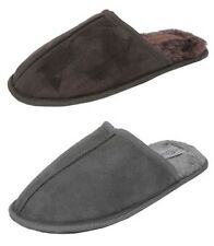 Mens Cosies Warm Micro Suede Fur Mules Slippers BROWN GREY Size 6 7 8 9 10 11