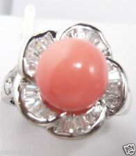 Fashion Natural 10mm Coral Pink South Sea Shell Pearl Flower Ring Size 7/8/9