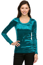 Sexy Blue Plush Velvet Holiday Party L/S fitted Top Glam INSTYLE fitted top NEW