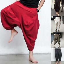 Men's Low waist   Long Pants Casual  loose Fit  Harem Drop Crotch BaggyTrousers