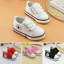 Fashion Boys Girls Toddler Babys Soft Shoes Kids Flats Casual Lace up Canvas