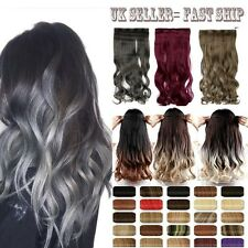 Clip In On Ombre Dip Dye Hair Extensions Women Human Favored Gray Brown Red SN5