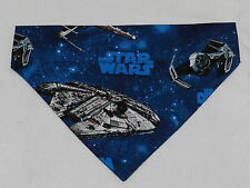 DOG/CAT/FERRET 2 in 1 Over Collar REVERSIBLE Bandana~STAR WARS Theme Spaceship