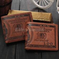 Mens PU Leather Bifold Wallet Purse Business Credit Card Holder Brown New