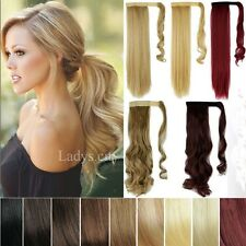 UK Seller Remy Clip In Ponytail Hair Extensions Straight Curly Pony Tail Lsm5