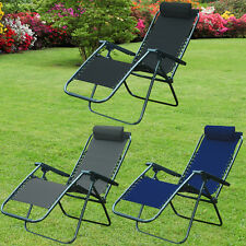 GARDEN RECLINING CHAIRS ZERO GRAVITY TEXTOLINE SUN LOUNGER PATIO INDOOR OUTDOOR