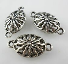 8/60pcs Tibetan Silver Flower Flat Oval Hollow Connectors Charms  (Lead-free)