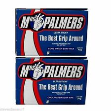 2 Blocks of MRS PALMERS Surfboard Wax Cool Water 70gms NEW surf