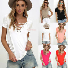 Fashion Sexy Womens Loose Pullover T Shirt Short Sleeve Cotton Tops Shirt Blouse