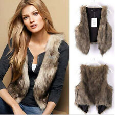 Women's Faux Fur Waistcoat Gilet Jacket Coat Sleeveless Outwear Short Warm Vest