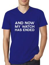 Now My Watch Has Ended Gift Idea Cool V-Neck T-Shirt Funny
