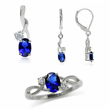 Sapphire Blue & White CZ 925 Sterling Silver Classic Pendant Earrings & Ring Set