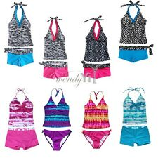 2PC Vintage Girl Halter Swimwear Tankini Swimsuit Set swim suit with Shorts 2-16