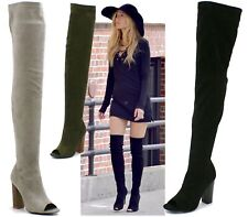 LADIES WOMENS HIGH HEEL OVER THE KNEE BOOTS PARTY EVENING PEEPTOE FASHION SHOES