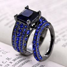 2PCS 2-in-1 Royal Blue Sapphire Black Gold Filled Rings Set Men Woman Jewelry