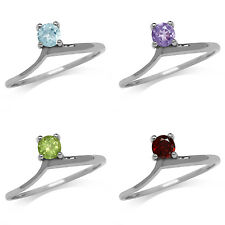 Topaz, Amethyst, Peridot, Garnet 925 Sterling Silver White Gold Plated Ring