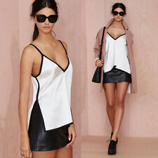 Sexy Women White Chiffon T Shirts Blouse Side Slit Tank T-Shirt Sheer Tops Vest