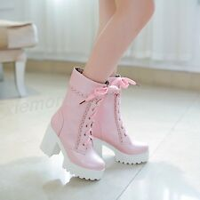 New Women Lace Up Mid Calf Boots Winter Warm High Heel Platform Block Shoes Plus