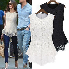Ladies Sleeveless Lace Embroidery Back Zipper Top Shirt Blouse Size 8-12-14-18
