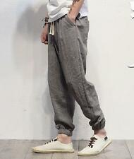 Casual Mens Bloomers Linen Trousers Cotton Haroun Pants Loose Fit Long Thin