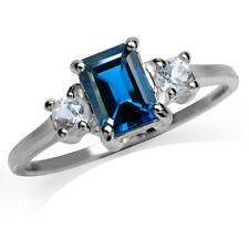 1.22ct. Natural London Blue & White Topaz 925 Sterling Silver Engagement Ring