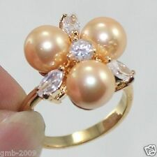 Fashion Women's 8mm Yellow South Sea Shell Pearl Crystal Wedding Ring Size 7/8/9