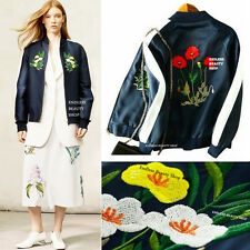 Garden Embroidered Bomber Jacket Women Embroidery Baseball Coat Military MOTO