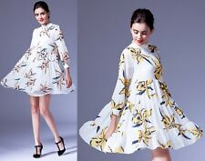 New Womens Floral Print pleated chiffon dress Casual loose dresses Pretty lovely