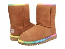 Ugg Australia Classic Short Rainbow Chestnut kids Youth Girls Boot Size 5 USA